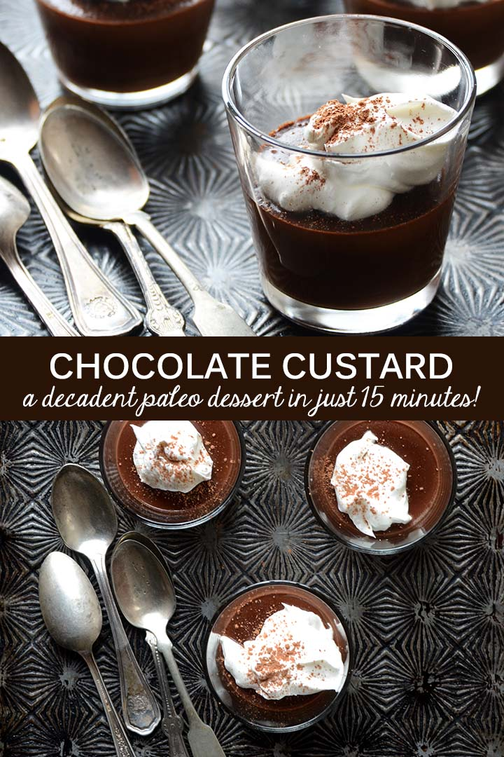 This easy paleo Chocolate Custard recipe is silky smooth with deep, rich chocolate flavor and takes just 15 minutes to whip up! #glutenfree #dairyfree #paleo