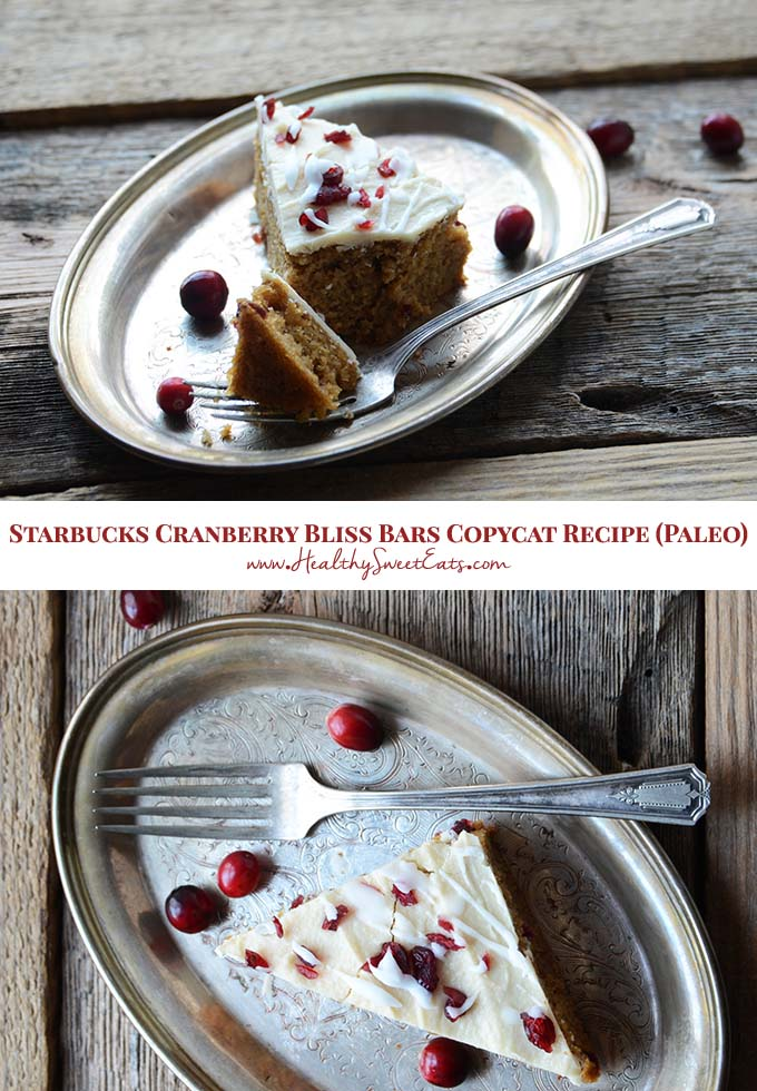 This paleo Starbucks Cranberry Bliss Bars Copycat Recipe features a vanilla and orange cake that's studded with cranberries, and topped with a rich coconut frosting.