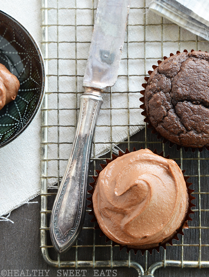 Chocolate Cupcakes for Two with Fluffy Tahini Chocolate Frosting 3