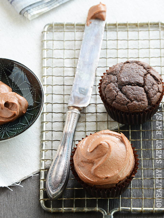 Chocolate Cupcakes for Two with Fluffy Tahini Chocolate Frosting 4