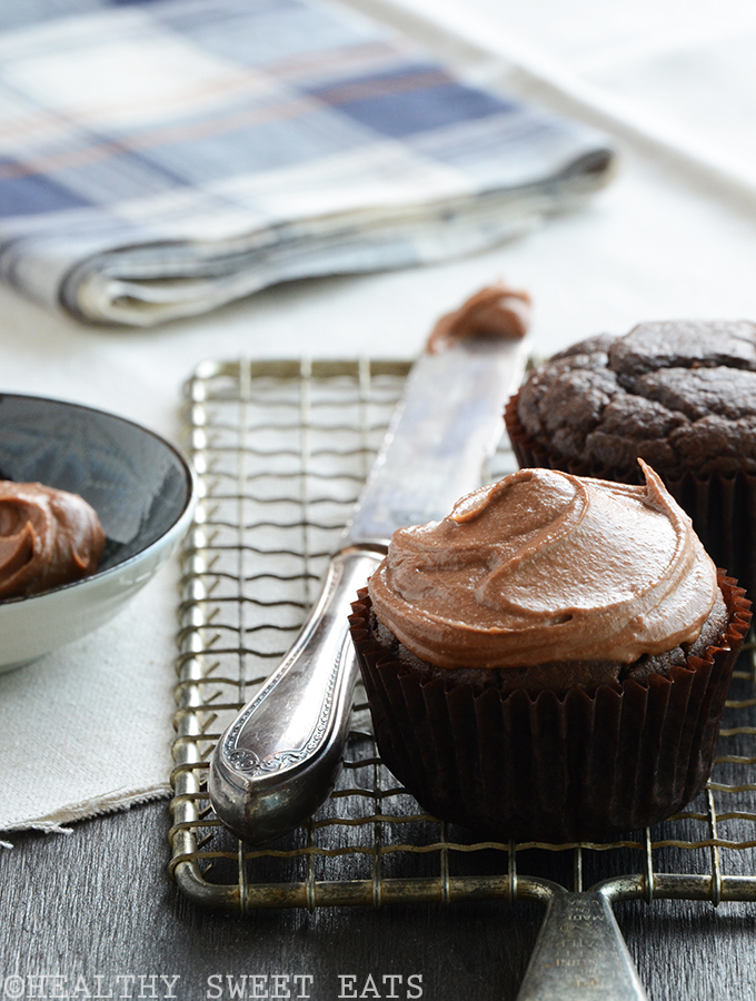 Chocolate Cupcakes for Two with Fluffy Tahini Chocolate Frosting