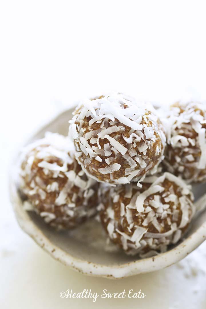 Easy Coconut Date Balls in Stoneware Bowl