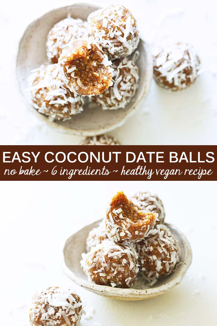 This healthy vegan recipe for Coconut Date Balls showcases the sweet natural caramel flavor notes in dates and is the perfect nutrient-dense snack! With only 5 ingredients, this recipe is easy to make in just 15 minutes. #vegan #paleo #glutenfree
