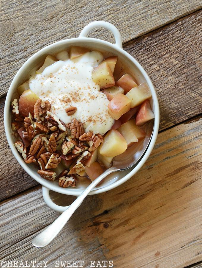 5 Minute Cinnamon Pecan Baked Breakfast Apple Healthy