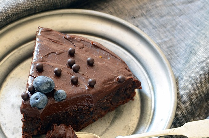 Fudgy Blueberry-Orange Chocolate Cake with Dark Chocolate Avocado Ganache