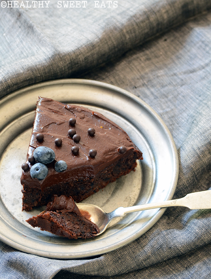 Fudgy Blueberry-Orange Chocolate Cake with Dark Chocolate Avocado Ganache 1