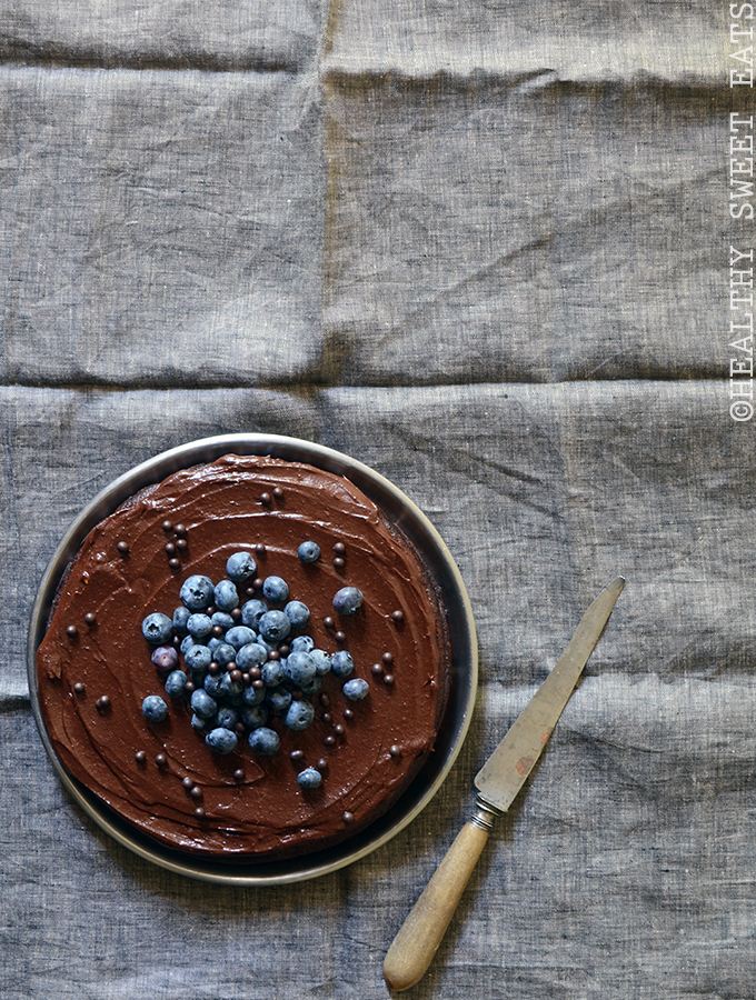 Fudgy Blueberry-Orange Chocolate Cake with Dark Chocolate Avocado Ganache 2