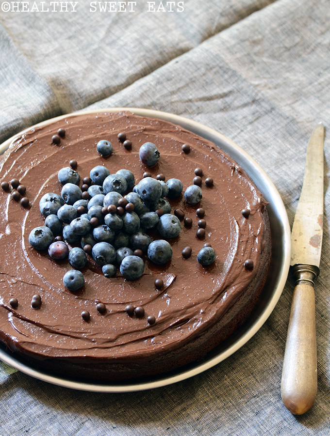 Fudgy Blueberry-Orange Chocolate Cake with Dark Chocolate Avocado Ganache 3