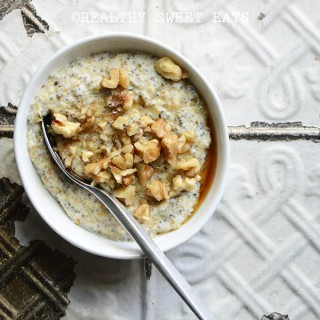 My Favorite Noatmeal (aka Low-Carb Oat-Free Porridge) on White Metal Background
