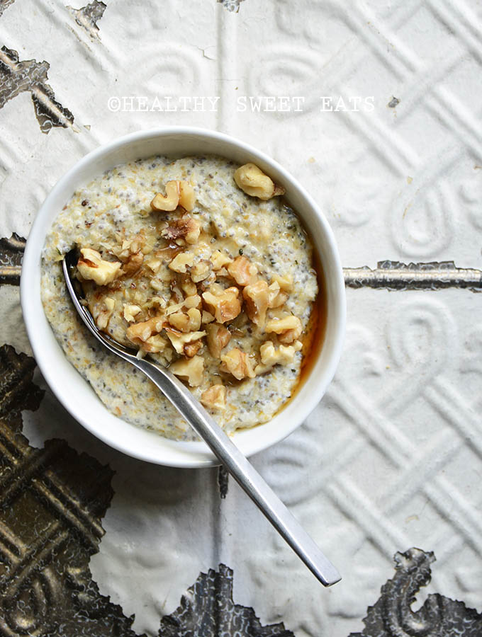 My Favorite Noatmeal (aka Low Carb Oatmeal) on White Tile Background