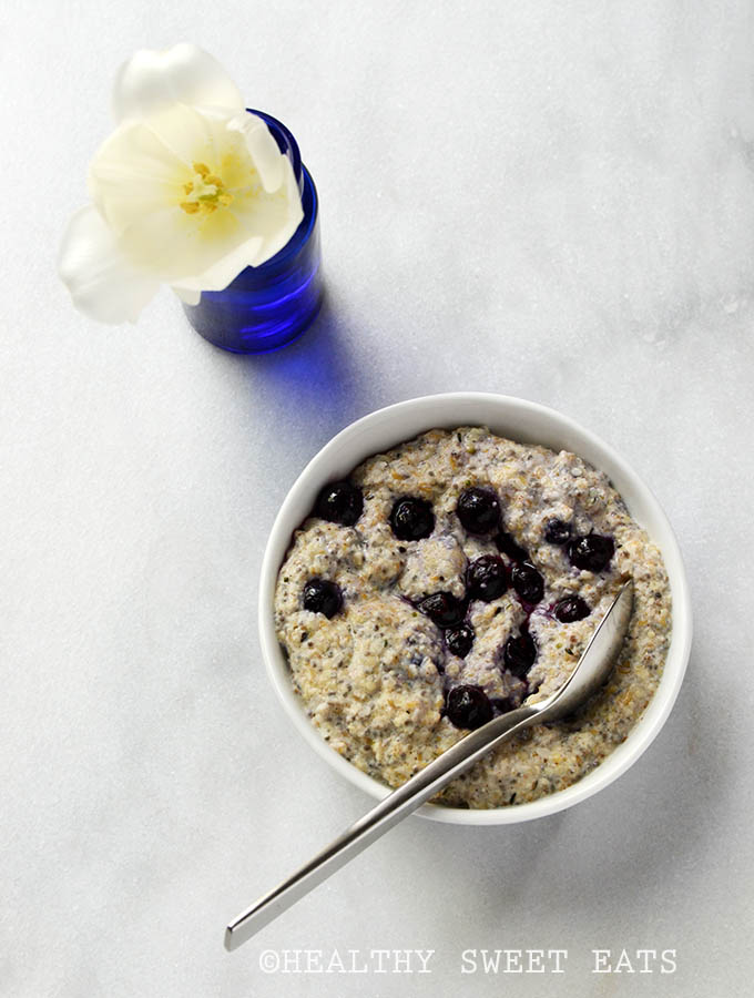 My Favorite Noatmeal (aka Low Carb Oatmeal) with Blueberries Added