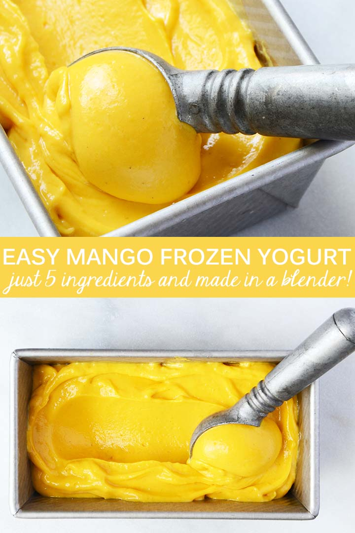 This Easy Mango Frozen Yogurt Recipe has a rich, creamy texture and a bright fruity flavor. It whips up easily in a high-speed blender for a healthy frozen treat to satisfy your ice cream cravings.