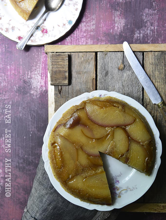 Upside-Down Spiced Maple Pear Sour Cream Cake 1
