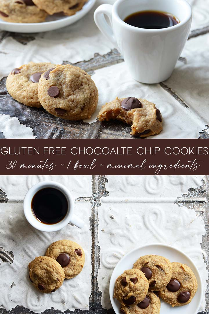 This Soft and Chewy Gluten Free Chocolate Chip Cookies Recipe is crispy outside and chewy inside with deep caramel flavor notes and rich bursts of chocolate. #glutenfree #dairyfree #paleo