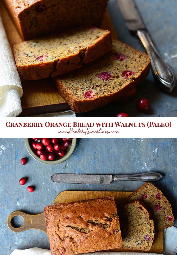 Cranberry Orange Bread with Walnuts is aromatic with orange and warm spices, and subtly sweet with a lovely contrasting sweet/tart flavor thanks to fresh cranberries. It's perfect for breakfast or snack time! #paleo