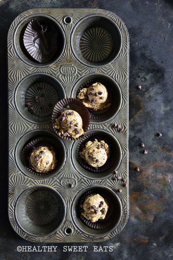 Low-Carb Chocolate Chip Cookie Dough Fat Bombs in Metal Tray