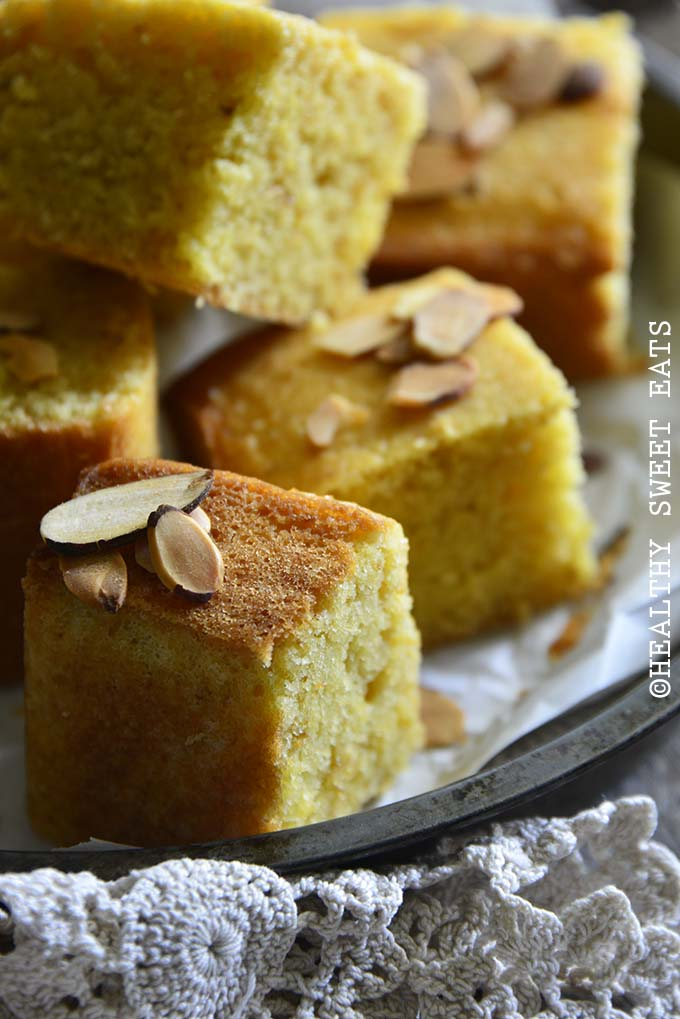 Close Up of Low-Carb Keto Vanilla-Almond Yellow Butter Cake