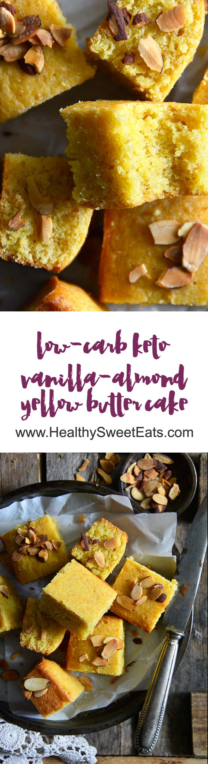 Low-Carb Keto Vanilla-Almond Yellow Butter Cake Long Pin