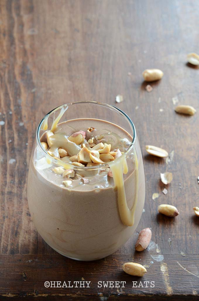 Healthy Paleo-Friendly Snickers Smoothie on Wooden Table