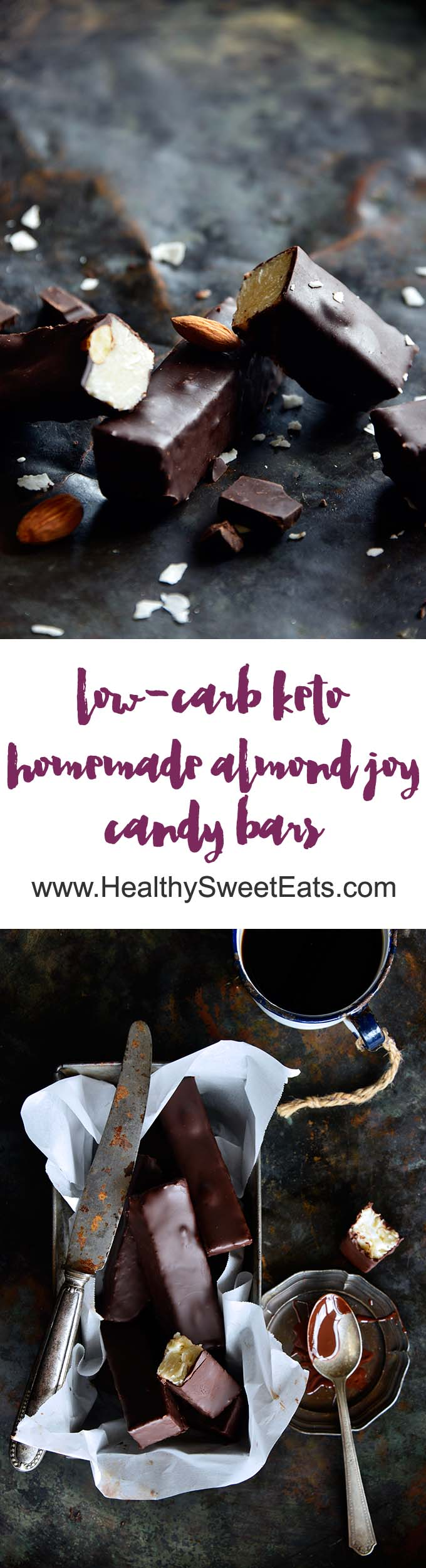Keto Homemade Almond Joy Candy Bars Long Pin