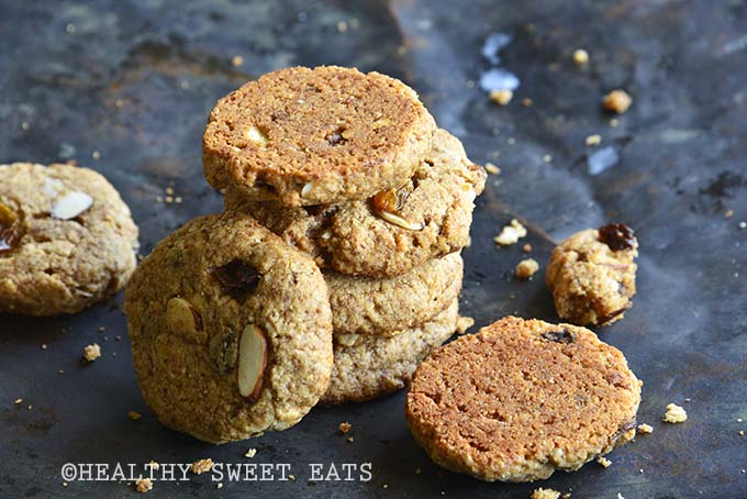 Stack of Soft and Chewy Paleo Cinnamon Raisin Noatmeal Cookies