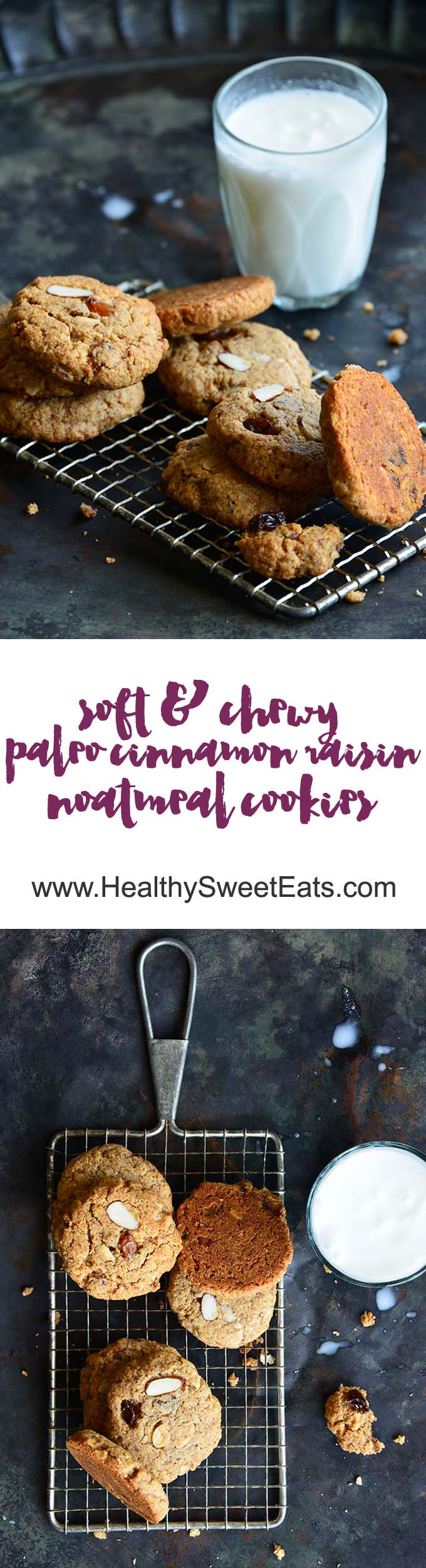 Soft and Chewy Paleo Cinnamon Raisin Noatmeal Cookies Long Pin