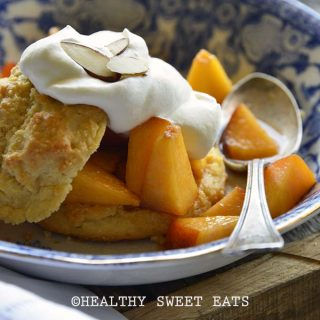 Close Up of Gluten Free Shortcake with Easy Peach Topping