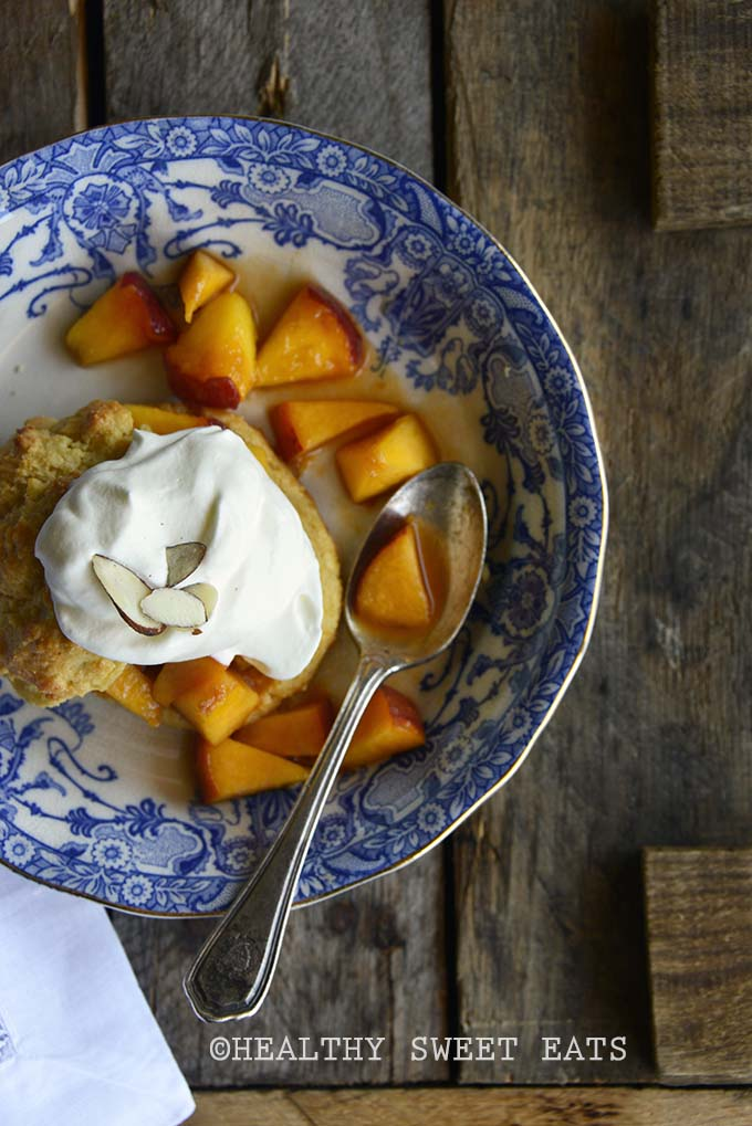 Gluten Free Shortcake with Easy Peach Topping on Wooden Table