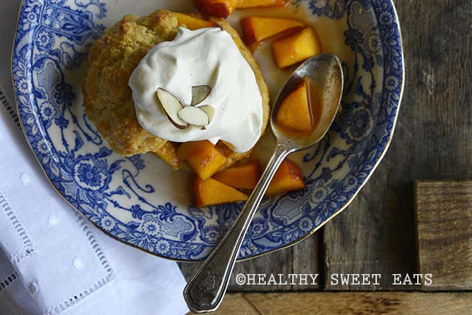 Gluten Free Shortcake with Easy Peach Topping Overhead View