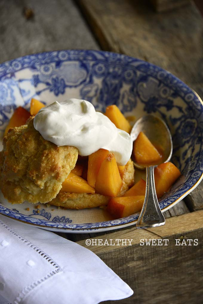 Gluten Free Shortcake with Easy Peach Topping