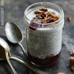 Vanilla Low Carb Chia Pudding with Fresh Blueberry Sauce Front View