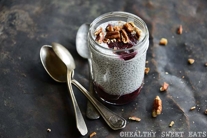 Vanilla Low Carb Chia Pudding with Fresh Blueberry Sauce Close Up