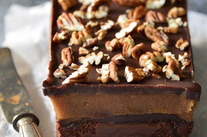 Flourless Chocolate Cake with Caramel and Chocolate Ganache (Paleo Gluten Free Chocolate Cake Recipe)