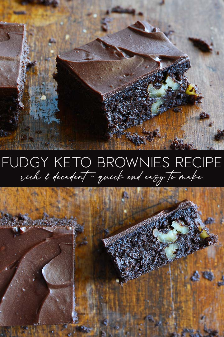 This rich, intensely chocolaty Fudgy #Keto Brownies Recipe is the perfect way to satisfy a chocolate-lovers' sweet tooth. Each brownie has just 3g net carbs! #lowcarb