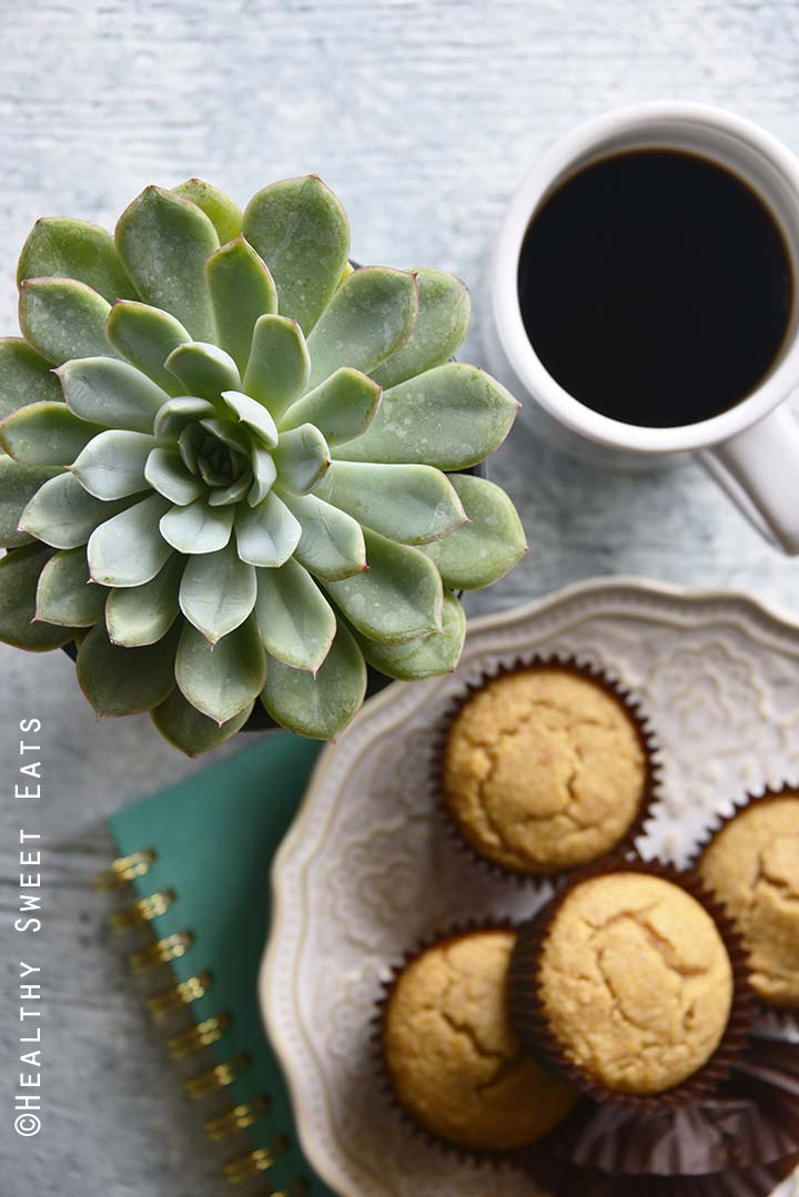 Low Carb Easy Pancake Muffin Recipe with Notebook and Coffee