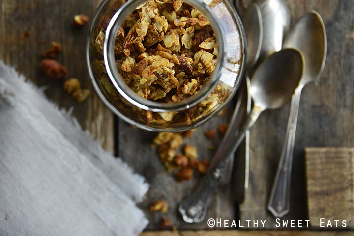 Low Carb Pumpkin Spice Gluten Free Granola Close Up