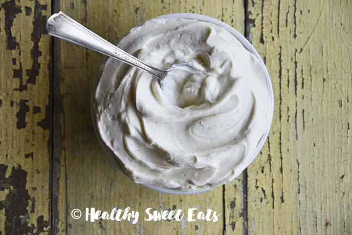 Close Up of Vanilla Bean Low Carb Cheesecake Frosting