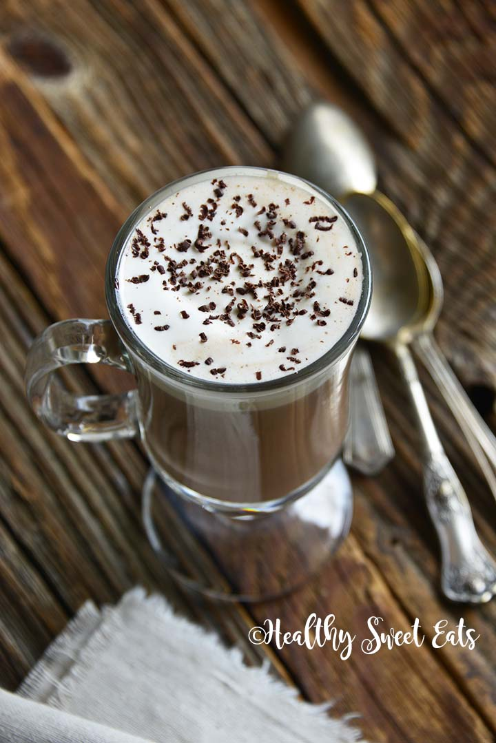 5 Minute Low Carb Hot Chocolate Recipe on Wooden Table