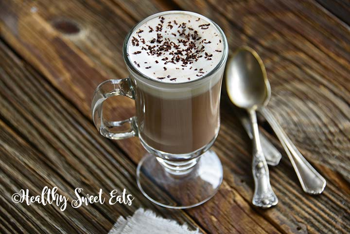 Close Up of 5 Minute Low Carb Hot Chocolate Recipe