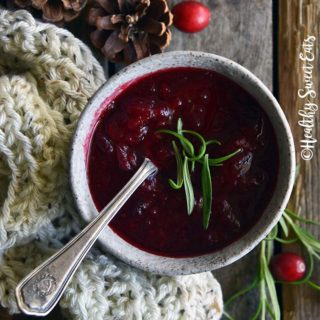 Overhead View of Rosemary Vanilla Cranberry Sauce (Low Carb Cranberry Sauce) on Wooden Table