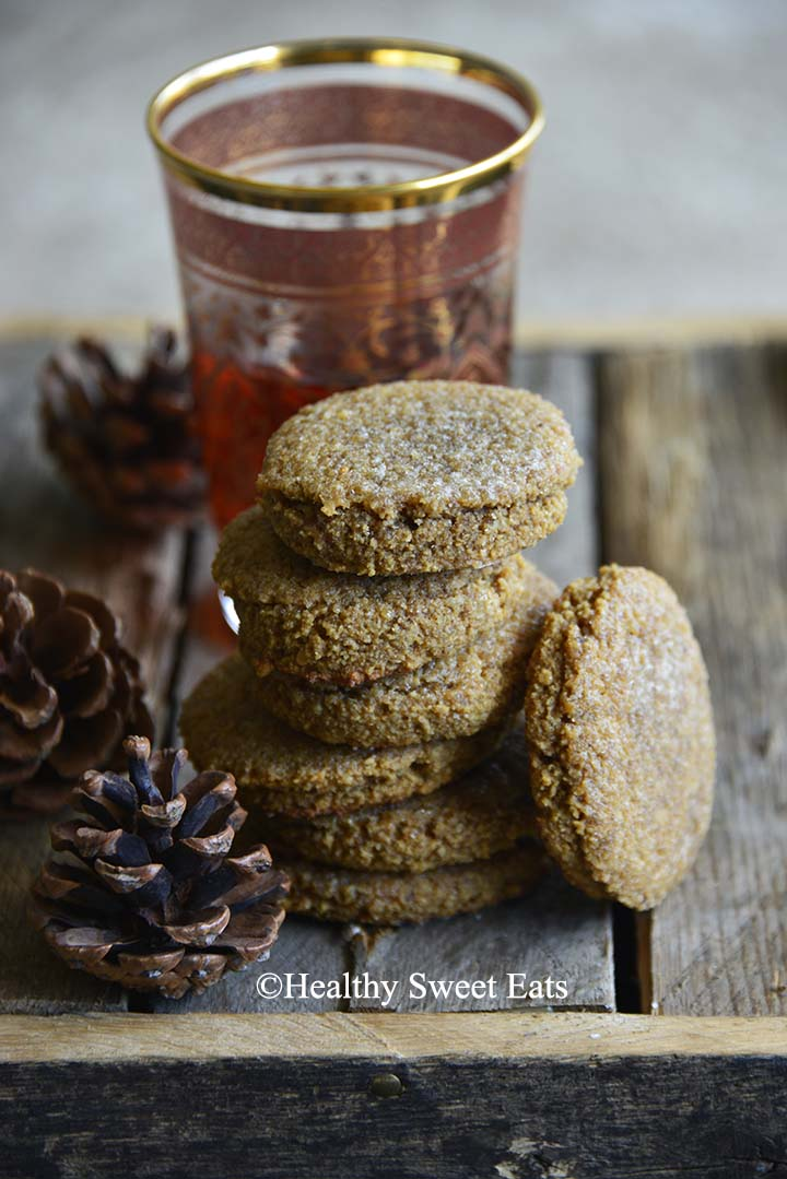 Small Batch Low Carb Chewy Molasses Ginger Cookies Front View on Wooden Table