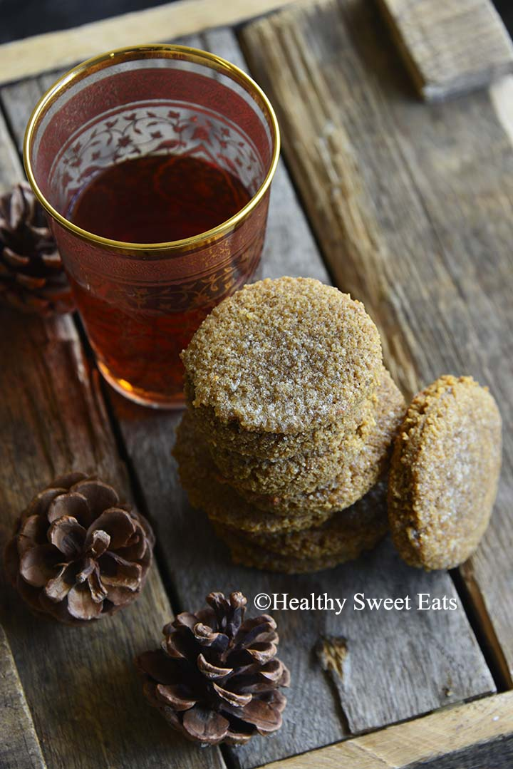 Small Batch Low Carb Chewy Molasses Ginger Cookies with Pine Cones and Tea on Wooden Table