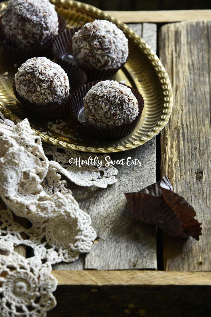 Low Carb Chocolate Rum Balls (Small Batch; Gluten Free) on Vintage Metal Tray on Wooden Table