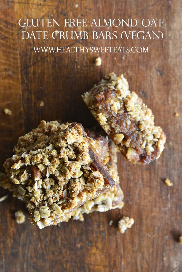 Gluten Free Almond Oat Date Crumb Bars (Vegan) Pin
