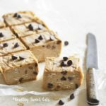Front View of Low Carb Chocolate Chip Cookie Dough Freezer Fudge on White Table