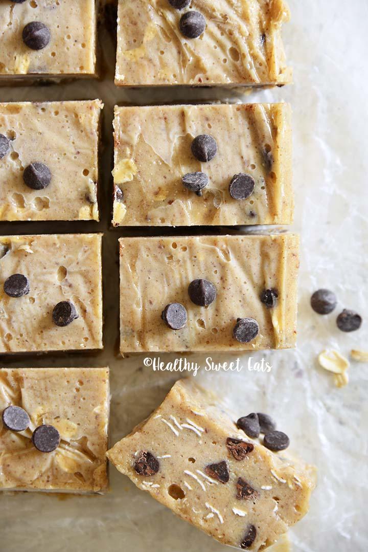 Close Up Top View of Low Carb Chocolate Chip Cookie Dough Freezer Fudge