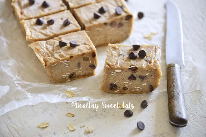 Squares of Low Carb Chocolate Chip Cookie Dough Freezer Fudge