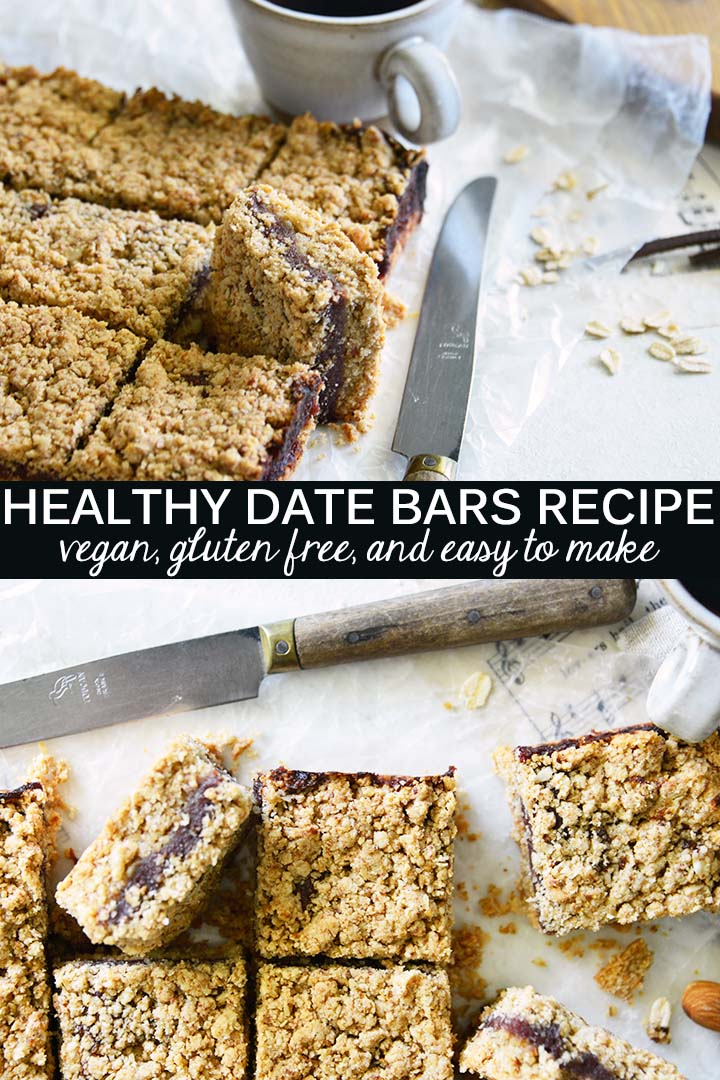 This vegan Healthy Date Bars Recipe is gluten free and contains no refined sugar; these bars have sweet, nutty flavor and subtle notes of caramel and a hint of vanilla.