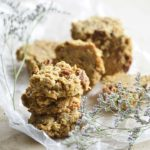Banana Nut Keto Breakfast Cookies on Crumbled Wax Paper