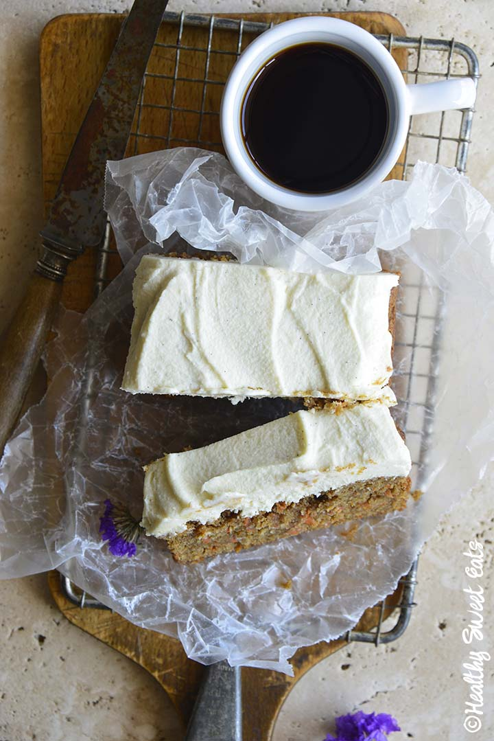 Close Up Top View of Keto Carrot Cake with Coffee
